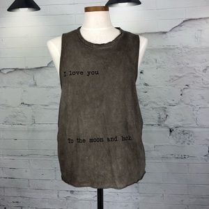 Brandy Melville Muscle Tank I love you to moon1343